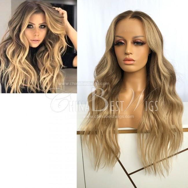 HWS-331  Brazilian Virgin Hair 22 Inch Blonde Wavy Lace Front Wigs