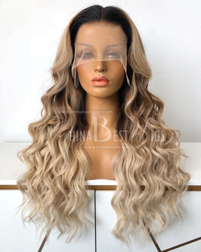 N204 Brazilian Virgin Hair 22 Inch Wavy Blonde Color Glueless Lace Front Wigs
