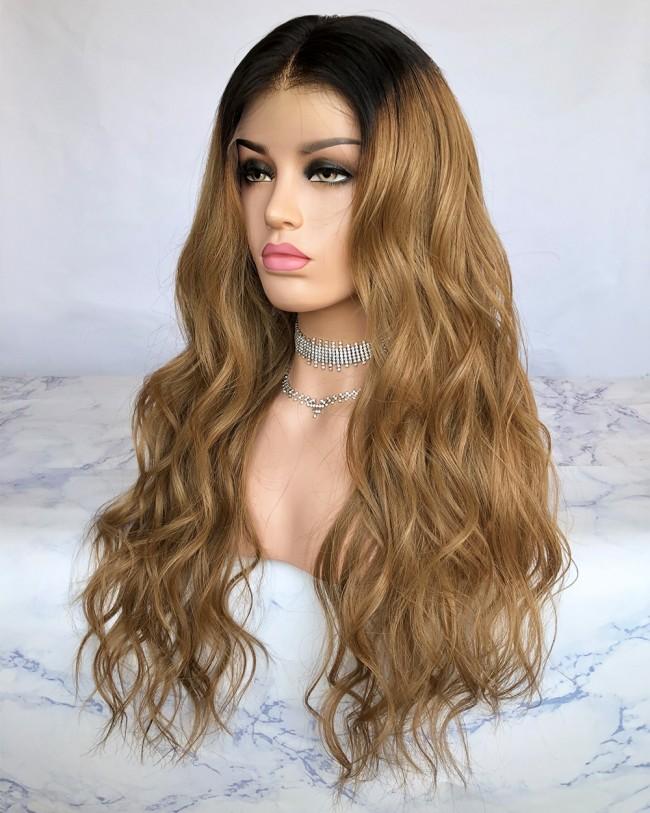 HWS-229 Ombre Wavy N96 color 22'' Virgin Brazilian Hair Glueless Lace Front Wigs