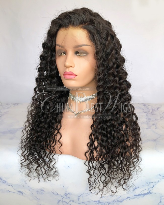HWS-231 24mm Curl Indian Hair 130% Density Natural Hairline Full Lace Wigs