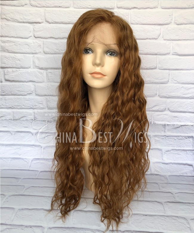 HWS-171 Long 24 Inch Pic Color  Wavy  Brazilian Virgin Full Lace Wigs