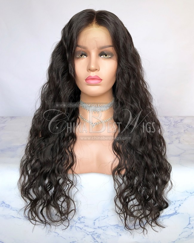 HWS-263  Natural Color Wavy 24 Inch  Indian Hair Lace Front Wigs