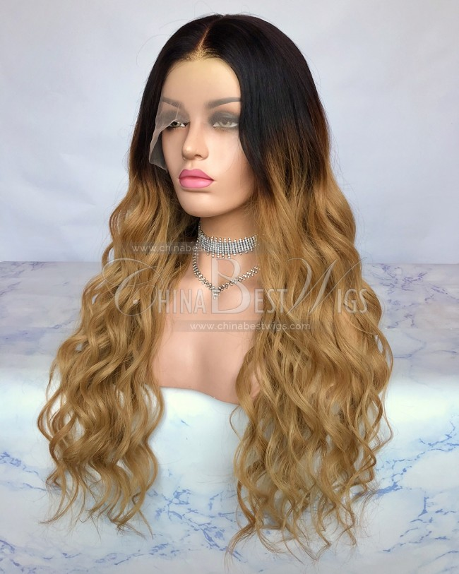 HWS-178  Virgin Brazilian Hair Ombre color Big Wavy Natural Hairline Brazilian Wigs