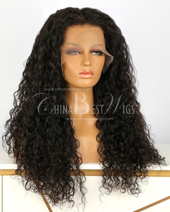 HWS-188  Jerry Curly 24 inch  Natural Color Glueless Lace Front Wigs Supplier