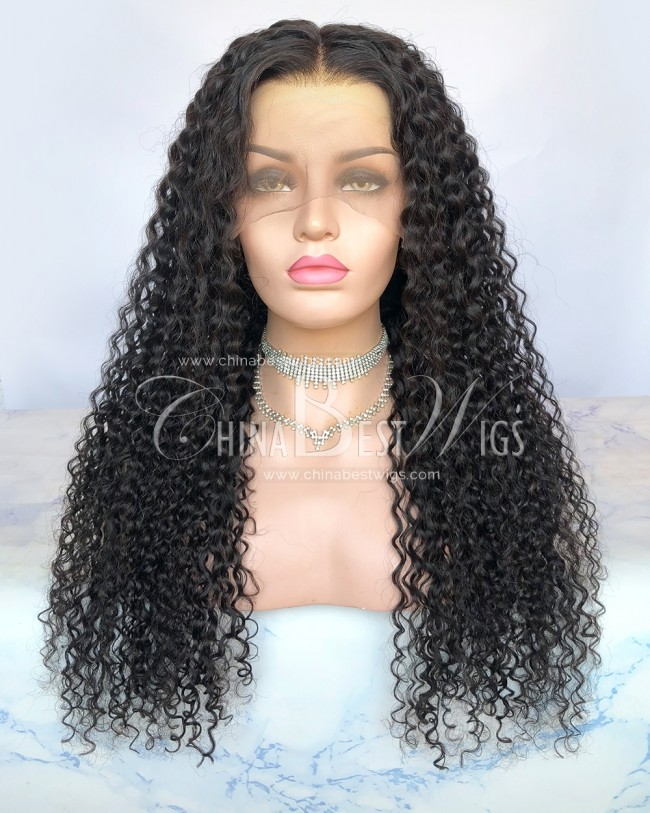 HWS-298 Natural Color 10mm Curly 24 Inch Virgin Human Hair Lace Front Wigs