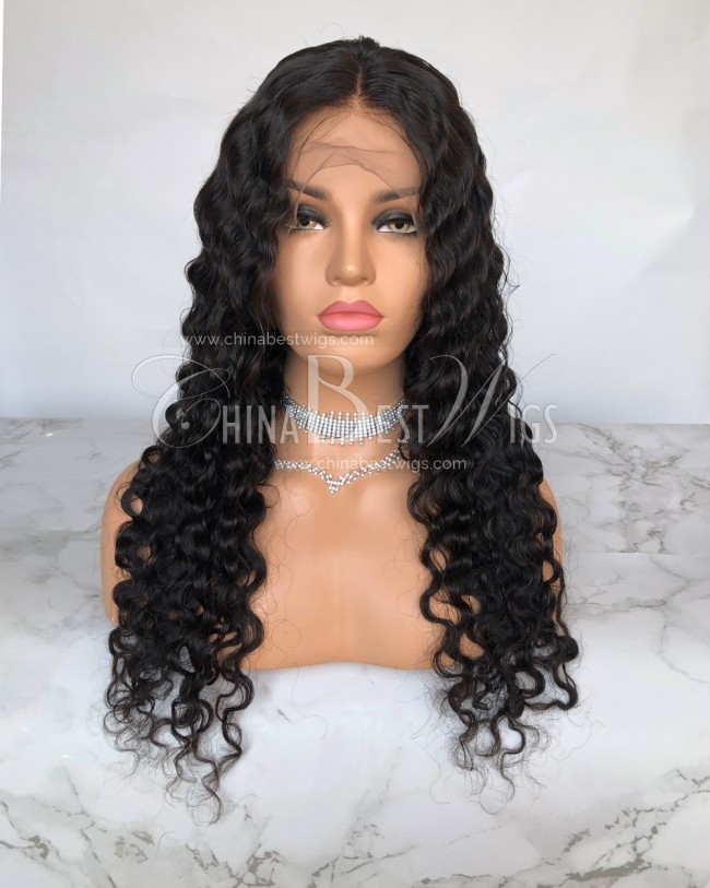 HWS-192  180% Density Deep Body Wave 24'' Virgin Brazilian Natural Color Lace Wigs