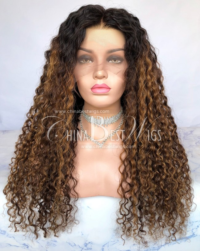 HWS-281  24 Inch 180% Density Indian Virgin Hair Glueless Lace Wigs