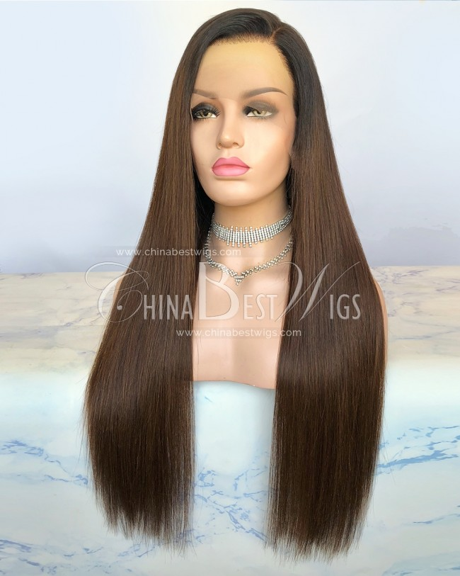 HWS-299  24 Inch Silky Straight Ombre Color Brazilian Virgin Hair Lace Front Wigs