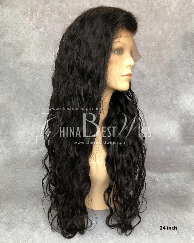 HWS-142  Natural Hairline heavy Density 24 inch  Wavy Indian virgin hair wigs