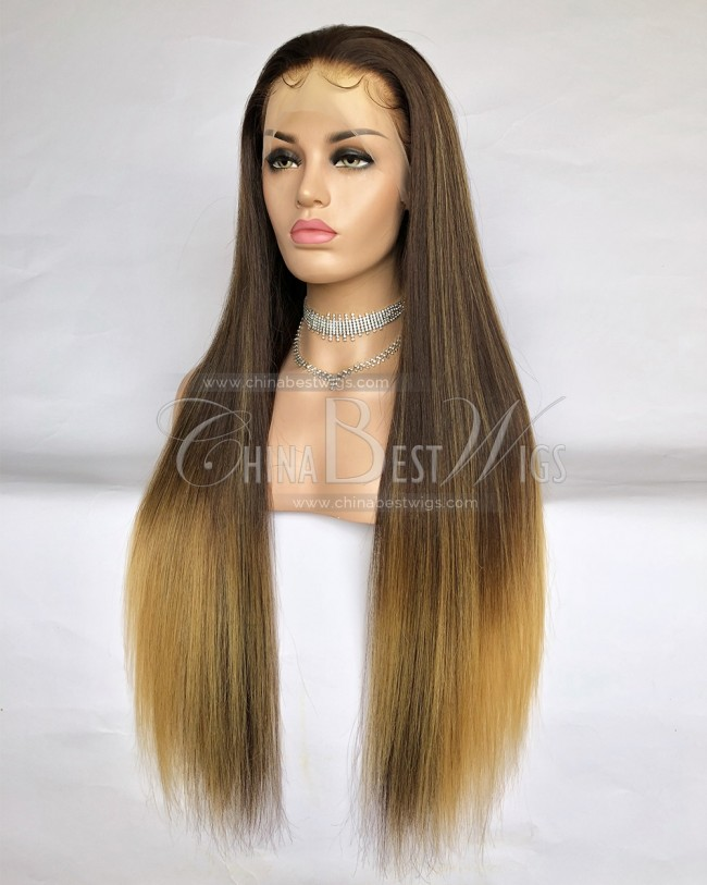 HWS-240 Ombre Color Straight 200% Density Lace Front Wigs