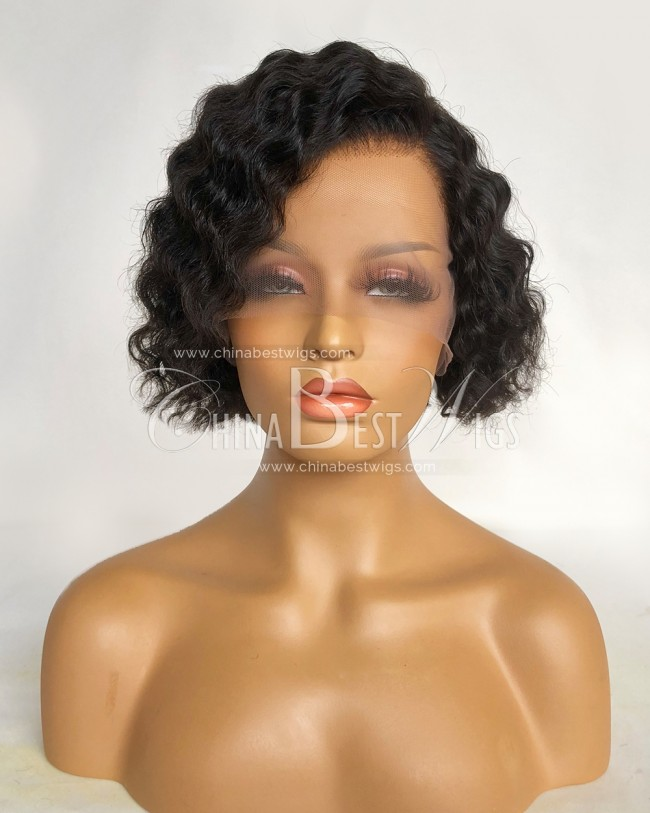 N179 Natural color Virgin Human Hair 8 Inch Short Cut Glueless Lace Front Wigs