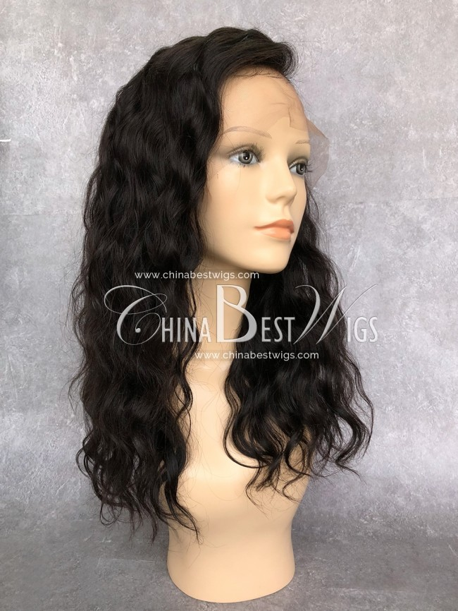 HWS-143 Wholesale Wavy Lace Wigs Natural Hairline 100% virgin human hair
