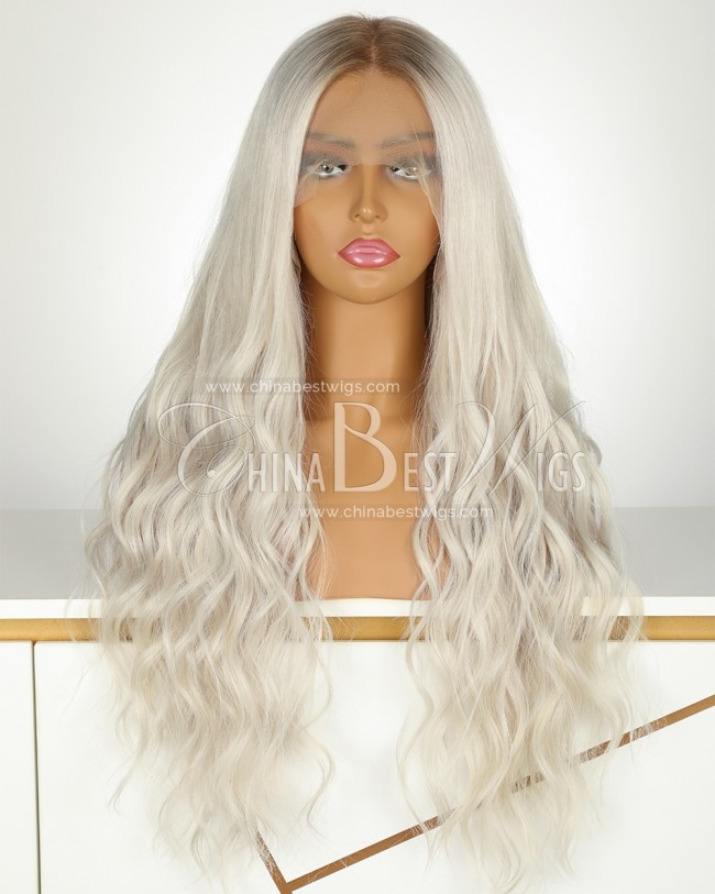 S6 Brazilian Virgin Hair 22 Inch Ombre Blonde  Glueless Lace Front Wigs