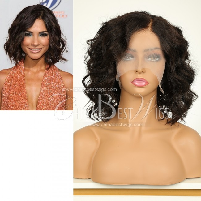 """N36 Stock Celebrity wig 10"""" Messy BOB style Indian virgin hair Glueless lace front wig"""