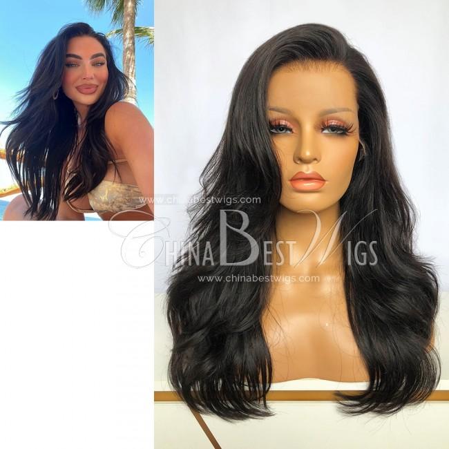 N222 Virgin Hair 18 Inch Wavy 180% Density Lace Frontal Wig