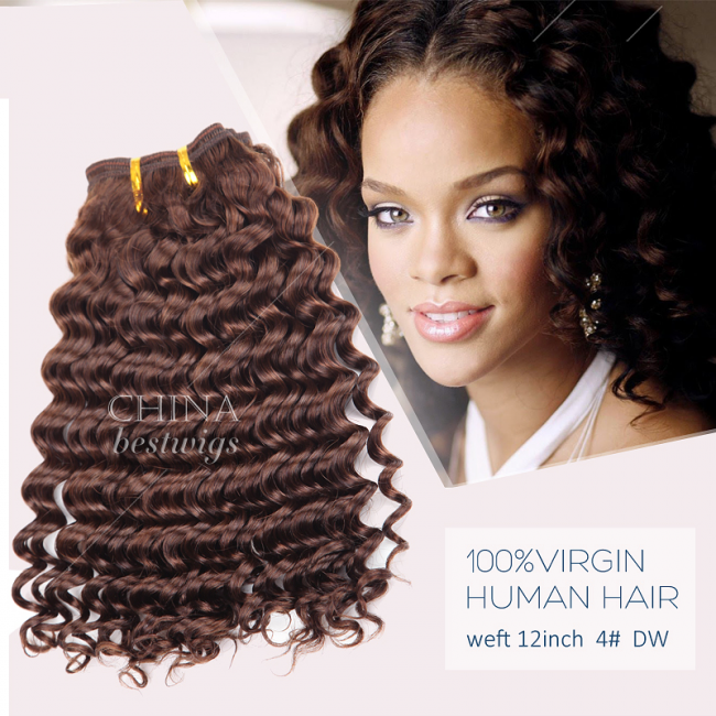 HCTS-19 Factory Wholesale Brazilian Hair Weft 12inch 4# Deep Wave Cheap price