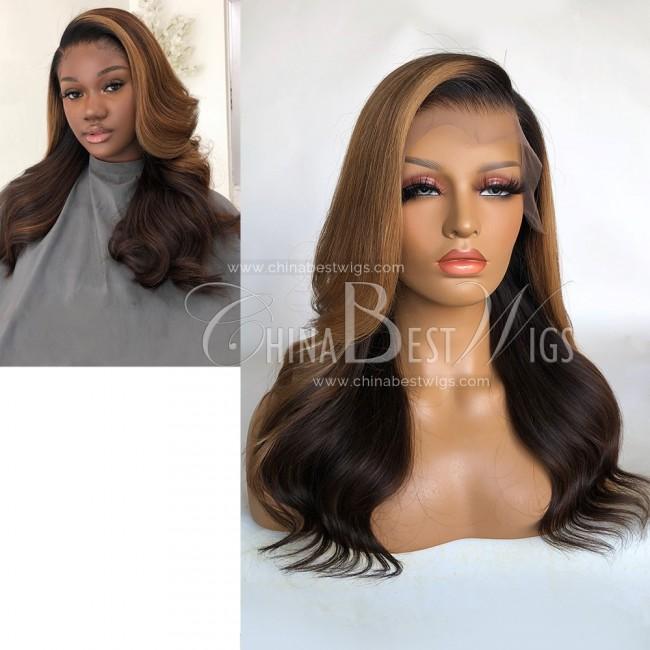 N191  16 Inch Side Parting 180% Density Brazilian Hair T Frontal Wigs