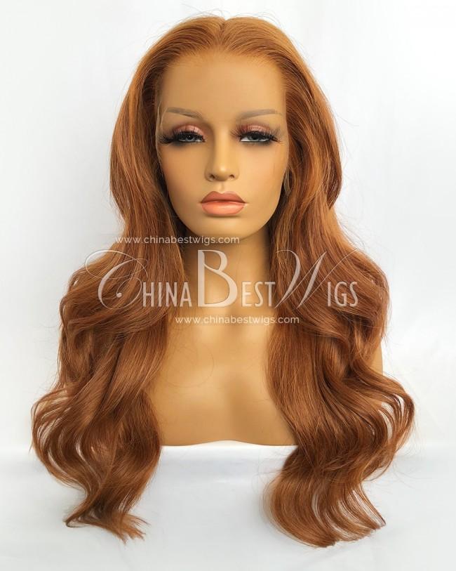 N177-1 20 Inch  150% Density Brazilian Virgin Hair Organge Color Lace Front Wigs