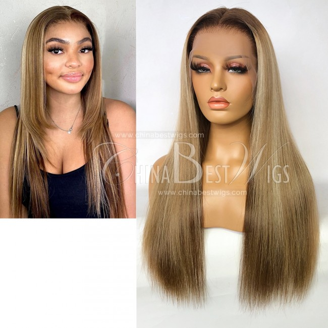 N196 Highlight Color Silky Straight Virgin Braziian Hair Lace Front Wig