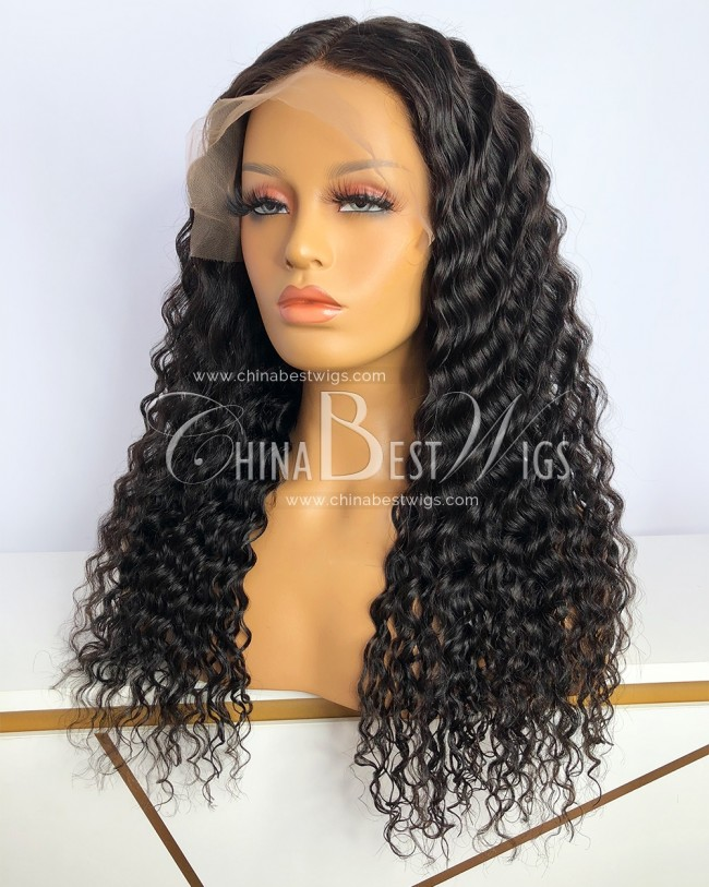 HWS-353  180% Density 20 Inch Natural Color Loose Wave Glueless Lace Front Wigs