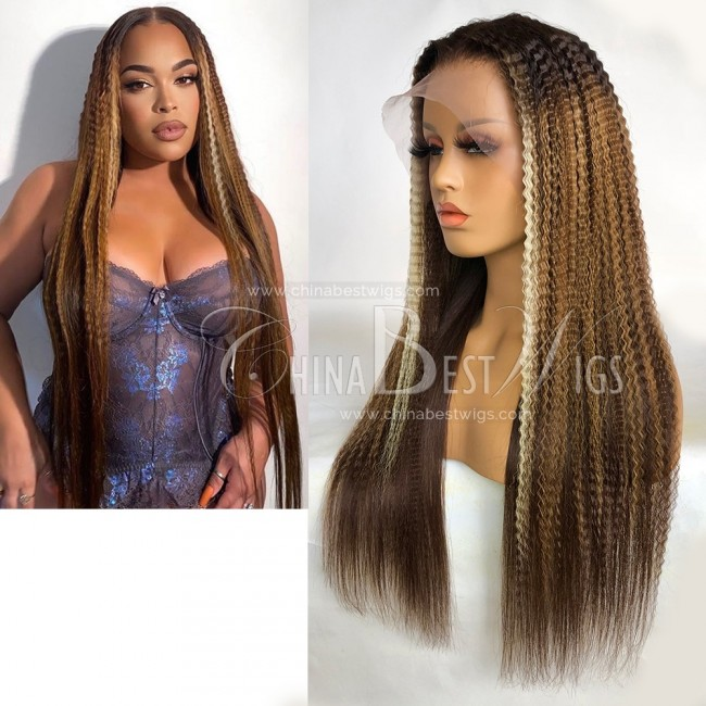 N195 22 Inch 150% Density Ombre Color Brazilian Virgin Hair Lace Front Wig