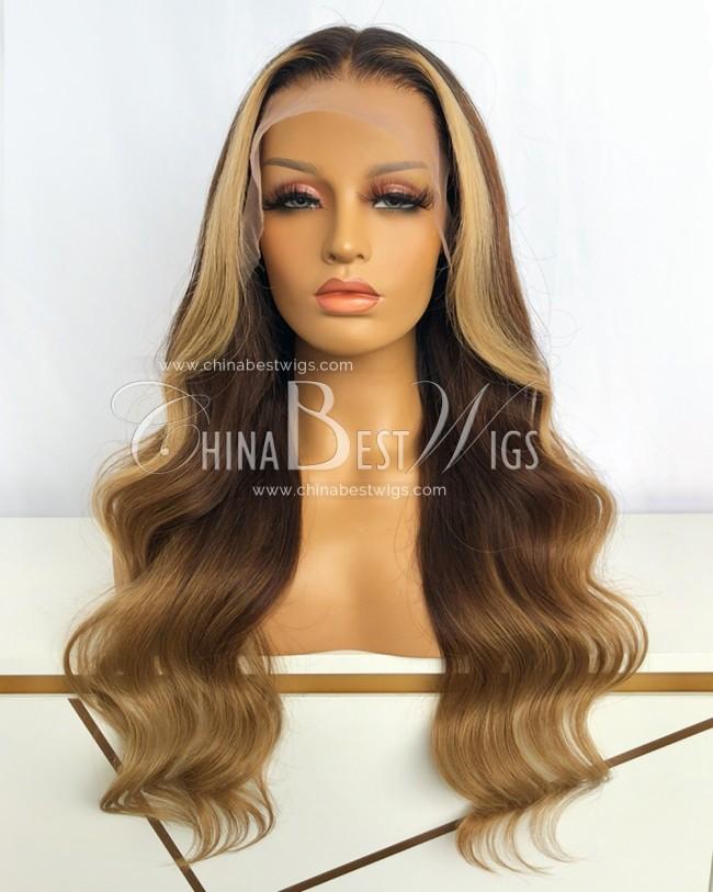 N208 Brazilian Virgin Hair 22 Inch  Ombre Blonde Lace Front Wigs