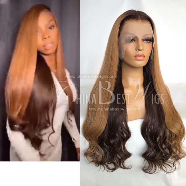 N194 Brazilian Virgin Hair 26 Inch Ombre Color Wavy T Frontal Wigs