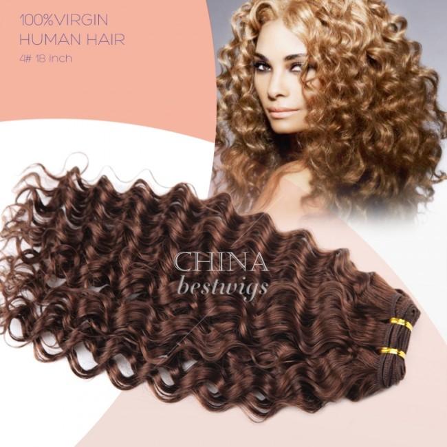 HCTS-4 Brazilian virgin hair weft hair weaving 18inch 4# janet curl