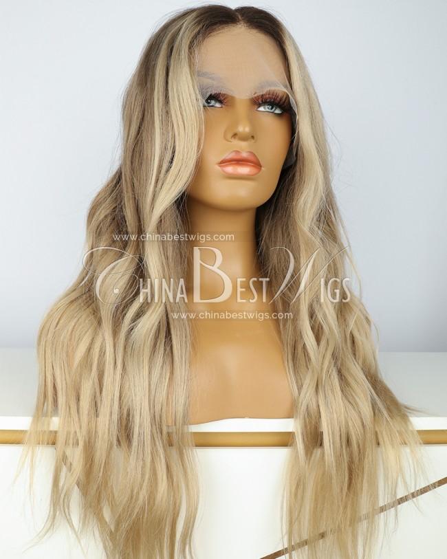 N231 Virgin Brazilian Hair 22 Inch Blonde Color Wavy  Lace Front Wigs