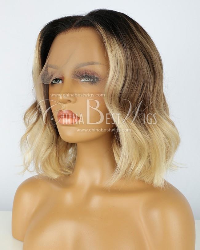 N131  12 inch Ombre Wavy Brazilian Hair Glueless Wigs