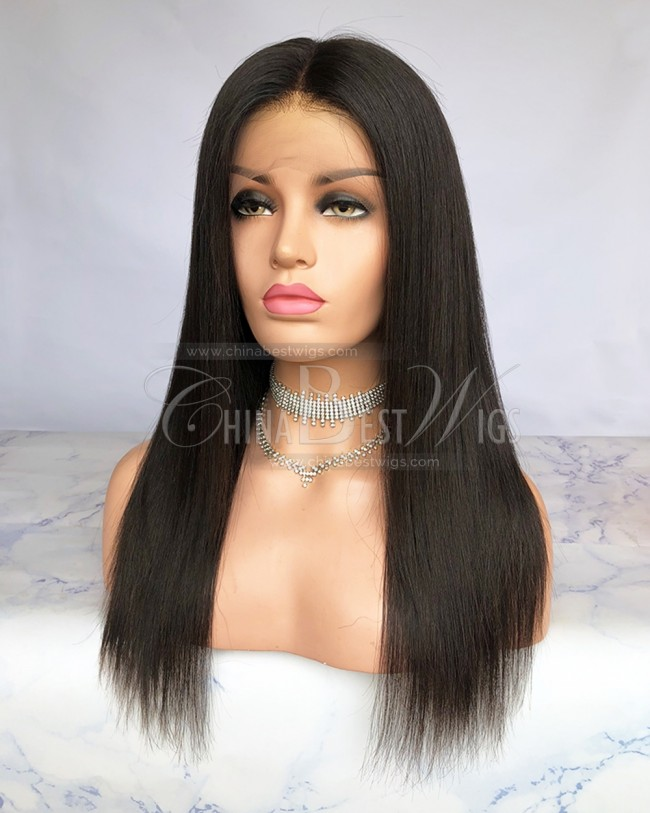 HWS-216  Silky Straihgt Natural Black 100% Human Hair 360 Wigs