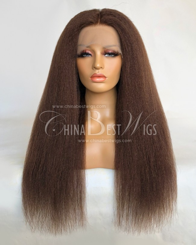 HWS-322 Kinky Straight 24 Inch Indian virgin Hair Lace Front Wigs