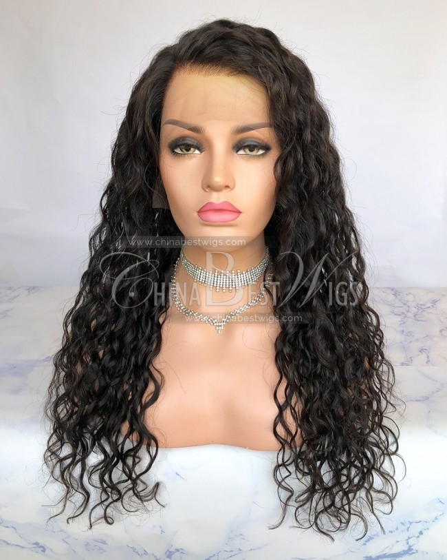 HWS-221  28mm curl Natural Color Indian Hair 360 Lace Wigs