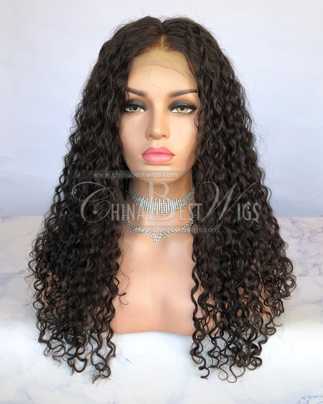 HWS-252 18mm curly Indian Human Hair Natural Color 150% Density 360 Lace Wigs
