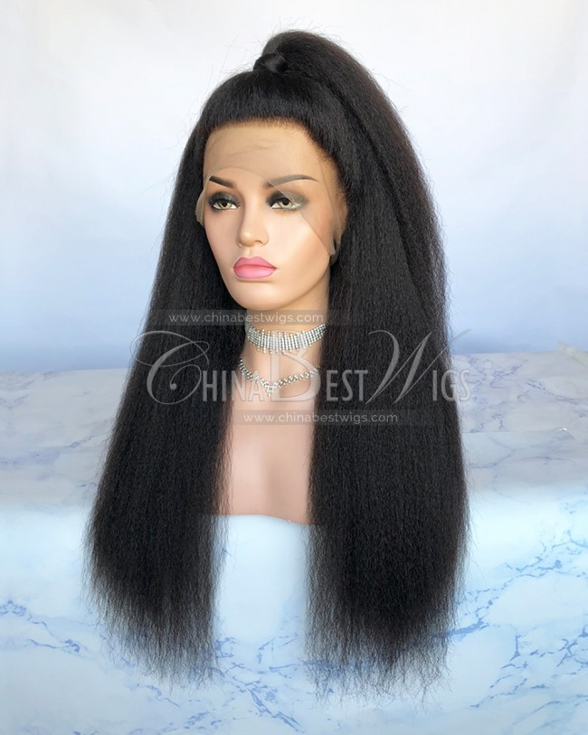 HWS-219 Kinky Straight 360 Wigs Natural Color 150% Density Hair