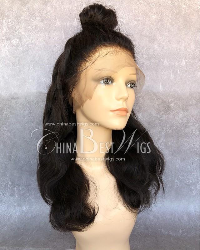 HWS-145 360 lace wigs supplier Brazilian virgin hair Natural color body Wave 180% density wigs