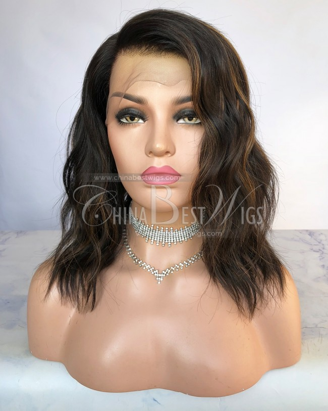 HWS-273  Natural Color with color 30 Highlight 12 Inch  Brazilian Hair Full Lace Wig