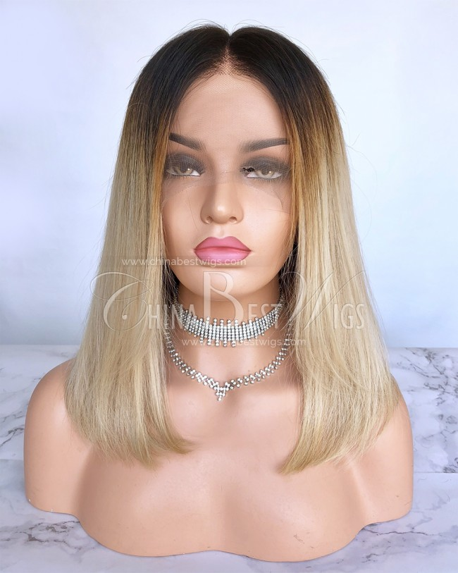 HWS-201  Ombre Blonde 14'' 180% Density Brazilian Glueless Full Lace Wigs