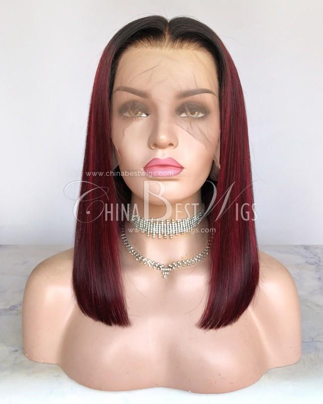 HWS-305 Ombre Color Bob Straight 14 Inch Glueless Wigs