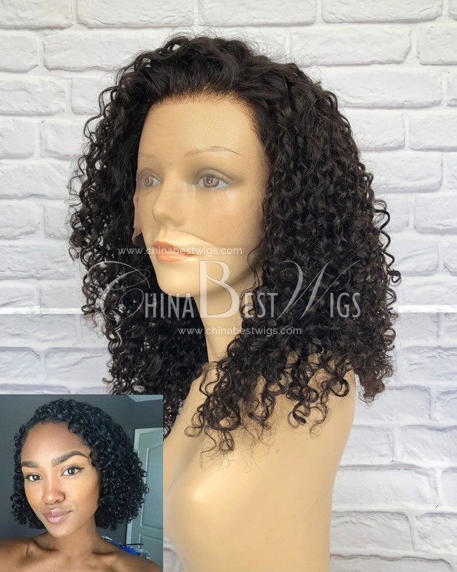 HWS-165 Tight Curly 16 inch Brazilian Virgin Hair Wholesale Glueless wigs