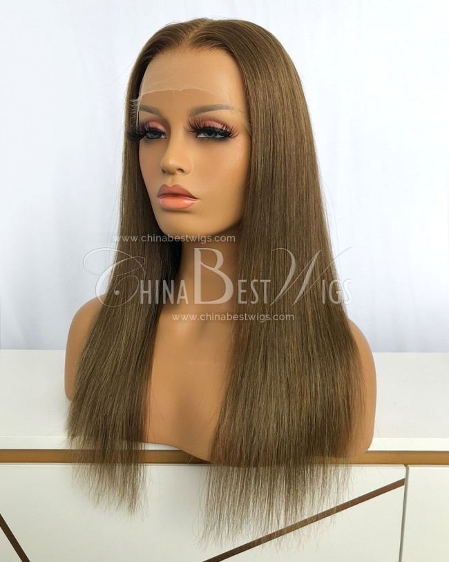 HWS-333  Brazilian Virgin Hair 16 Inch Silky Straight Lace Front Wigs