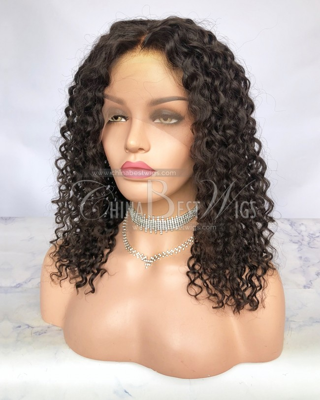 HWS-247 16 Inch Virgin Human Hair Spring Curl Glueelss Full Lace Wigs