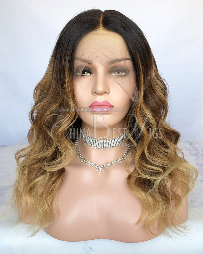 N104 Virgin Brazilian Hair 16Inch Ombre Hair Lace Front Wigs