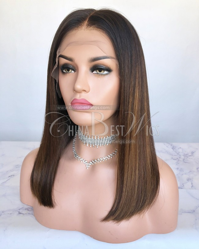 N142 Pre-plucked Hairline 16'' Brazilian virgin Hair 180% Density Bob Wigs