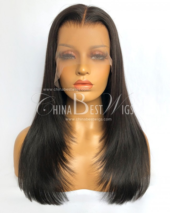 HWS-341 Virgin Human Hair Natural Color 16 Inch Lace Front Wigs