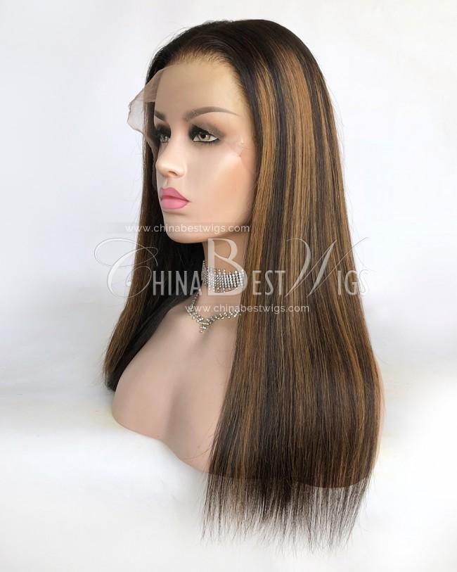 N153 16 Inch Straight Brazilian Virgin Hair 180% Density  Lace Front Wigs