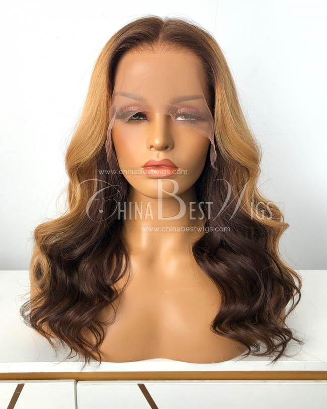 HWS-334 Indian Virgin Hair Wavy Ombre Color Glueless Lace Frontal Wigs