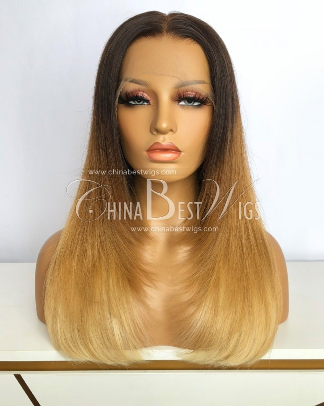 HWS-354 Brazilian Virgin Hair  16 Inch Ombre Color 180% Density Lace Front Wigs