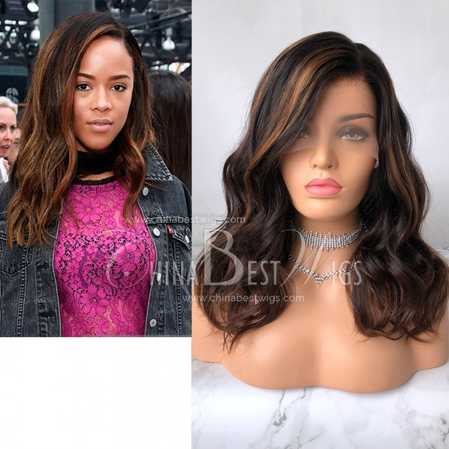 N61  Wholesale lace front wigs 16 inch Wavy Ombre Color 150% Density Natural Hairline Wig