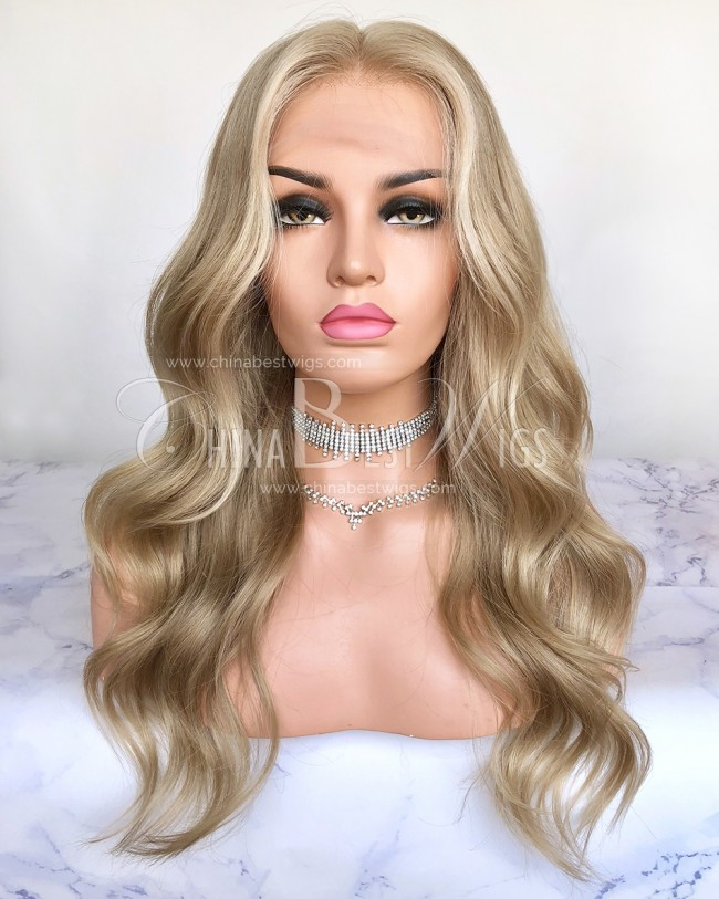 HWS-205 18 Inch  Brazilian Virgin Hair  Highlight Ombre Color Lace Wigs